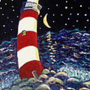Tipsy Lighthouse With White Cat Poster