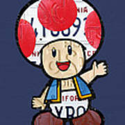 Toad From Mario Brothers Nintendo Original Vintage Recycled License Plate Art Portrait Poster