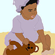 Toddler And Teddy Poster