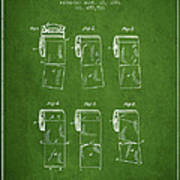 Toilet Paper Roll Patent From 1891 - Green Poster