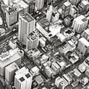 Tokyo City Black And White Poster