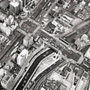 Tokyo Intersection Black And White Poster
