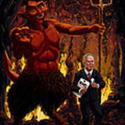 Tony Blair In Hell With Devil And Holding Weapons Of Mass Destruction Document Poster by Martin Davey