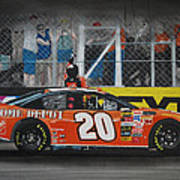 Tony Stewart Climbs For The Checkered Flag Poster