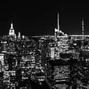 Top Of The Rock In Black And White Poster