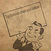 Top Ten Reasons People Procrastinate Pun Humor Motivational Poster Poster