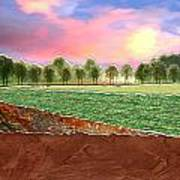 Torn Paper Fields Of Green And Brown Poster