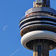 Toronto Cn Tower Moon And Jet Trail Poster