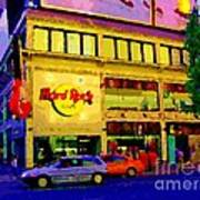 Toronto Street Scene Night Scapes Hard Rock Cafe Downtown Drive By City Lights Canadian Art Cspandau Poster