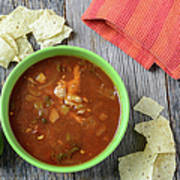 Tortilla Soup With Chips And Fresh Lime On Rustic Wood Backgroun Poster