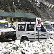 Tourist Vehicles Parked At The No Parking Sign In Sonmarg Poster