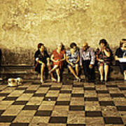 Tourists On Bench - Taormina - Sicily Poster