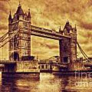 Tower Bridge In London Uk Vintage Style Poster