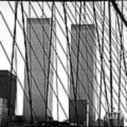 Towers From The Brooklyn Bridge 1990s Poster by John Rizzuto