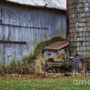 Tractor And Barn On Cloudy Day Poster