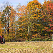 Tractor In Autumn New England Field Poster
