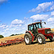 Tractor In Plowed Farm Field Poster