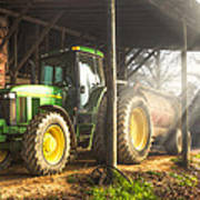 Tractor In The Morning Poster