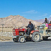Tractor Towing A Wagon Along The Road To Shigatse-tibet Poster
