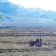 Tractor Used In Farming Along The Road To Shigatse-tibet Poster