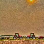 Tractors At Noon Poster