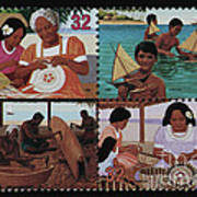 Traditional Pacific Handicrafts Postage Stamp Print Poster
