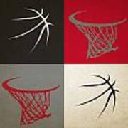 Trail Blazers Ball And Hoop Poster