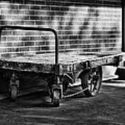 Train Depot Baggage Cart In B/w Poster