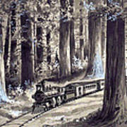Train In The Redwoods Poster