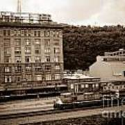 Train Passes Station Square Pittsburgh Antique Look Poster