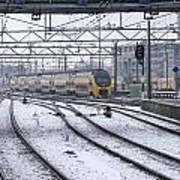 Train Station Zwolle In Winter Netherlands Poster
