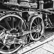 Train - Steam Engine Wheels - Black And White Poster