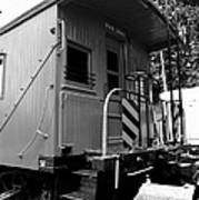 Train - The Caboose - Black And White Poster