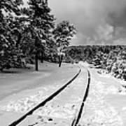 Train Tracks In The Snow Poster
