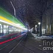 Tram At Night In Zurich Bahnhofstrasse Poster