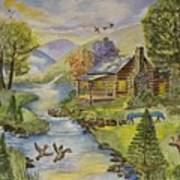 Tranquil Log Cabin Poster