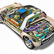 Transparent Car Concept Made In 3d Graphics 2 Poster