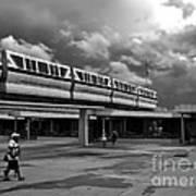 Transportation Station In Black And White Walt Disney World Poster