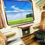 Travel In Comfortable Train. Poster