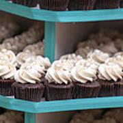 Trays Of Cupcakes Closeup Poster