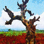 Tree On Red Land Painting Poster