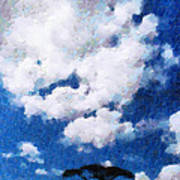 Trees Under Blue Cloudy Sky Painting Poster