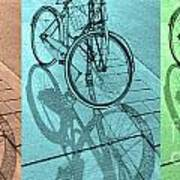 Tri-coloured Bicycle Print Poster