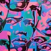 Tribal Graffiti Faces Poster