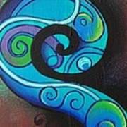 Tribal Koru Blue Poster
