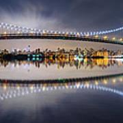 Triboro Bridge Panorama At Night Poster