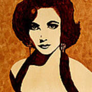 Tribute To Elizabeth Taylor Coffee Painting Poster