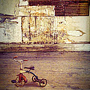 Tricycle In Abandoned Room Poster