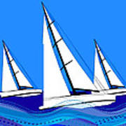 Trio Of Sailboats Poster