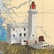Triple Islands Lighthouse Bc Canada Chart Art Poster